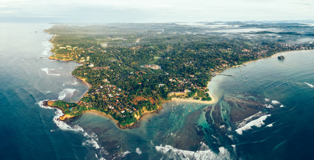 Aerial panorama view of beautiful weligama bay in the morning, sri lanka Фото со стока