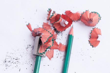 Pencil Shavings on White Paper