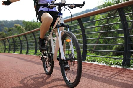 Woman cyclist riding mountain bike on forest trail Stock Photo