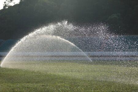 Watering lawn in the sunrise stadium Imagens