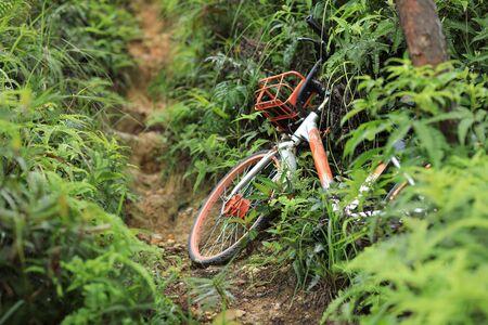 Abandoned shared bike on mountain