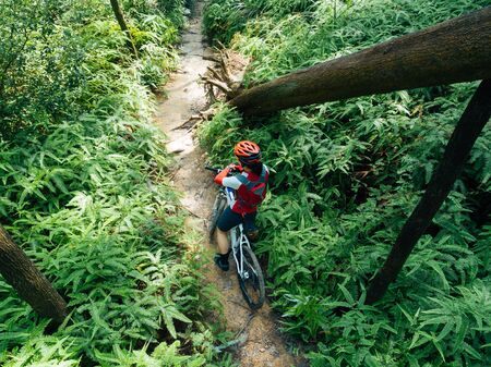 Cross country biking woman cyclist set the smartwatch on tropical forest trail