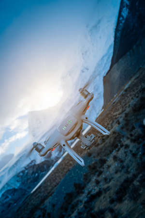 Flying drone taking picture of glacier lagoon in Tibet,China Reklamní fotografie