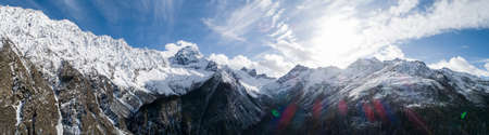 Panorama aerial view of beautiful snow mountains in Sichuan,China Banco de Imagens