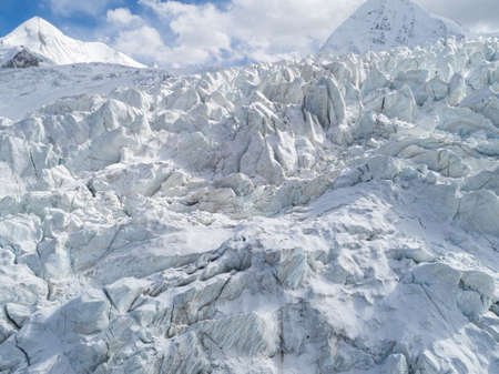 Aerial view of fossil glacier in Tibet,China Banco de Imagens