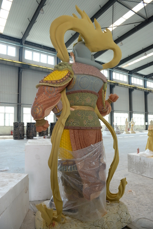 sculptures: Colored sculptures in the factory