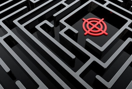 Abstract shiny black 3D labyrinth with a red target photo