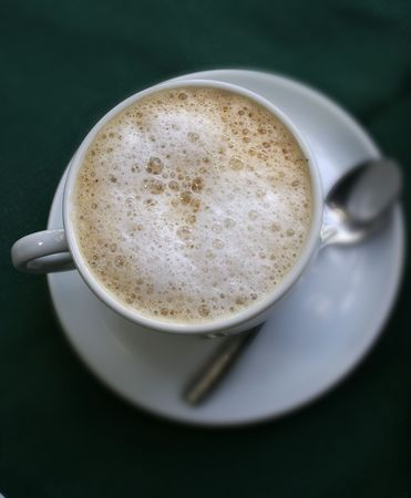 a cup of milk coffe