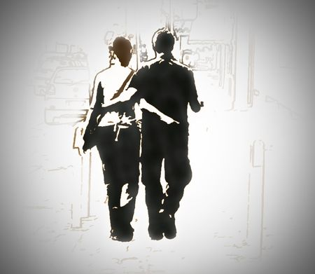 an illustrated degin for ,walking in harmony young couple  Stock Photo