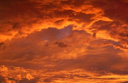 clouds and light in sunset moment
