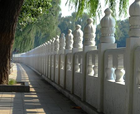 Lakeside fenceline bordering walkway and willow trees.
