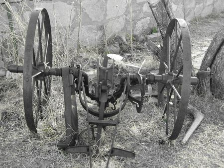 farm equipment: black and white antique farm equipment