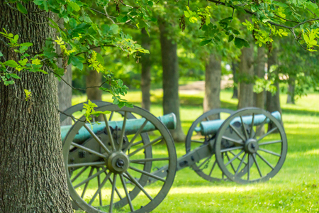 Cannons on a Battlefield Stock Photo
