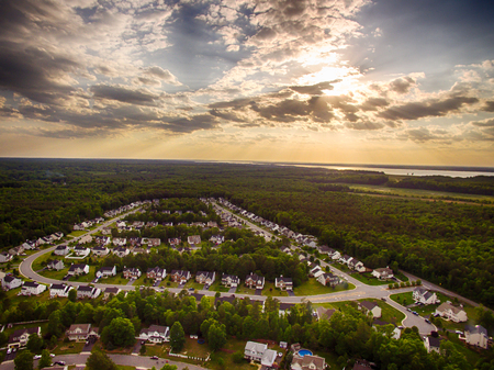 Aerial view of a Cookie Cutter Neighborhood With Sunset Stok Fotoğraf