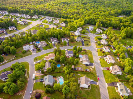 Aerial view of a Cookie Cutter Neighborhood Foto de archivo