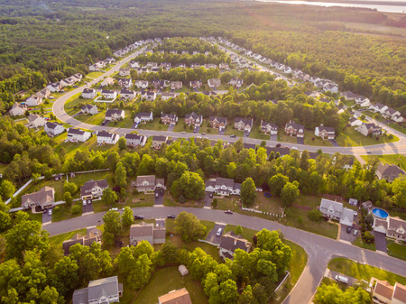 Aerial view of a Cookie Cutter Neighborhood Stock Photo - 78593311