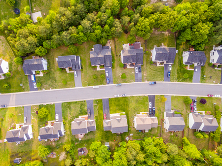 Aerial view of a Cookie Cutter Neighborhood Stok Fotoğraf