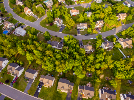 Aerial view of a Cookie Cutter Neighborhood Imagens