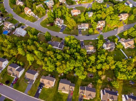Vista aérea, de, um, biscoito cortador, vizinhança