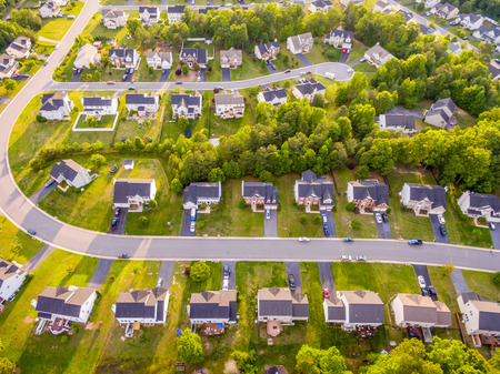 Aerial view of a Cookie Cutter Neighborhood Stock Photo - 78593008