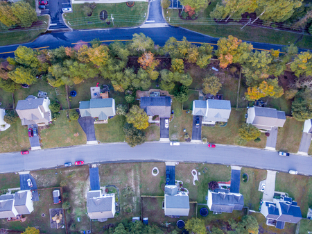 Aerial View of a Cookie Cutter Neighborhood in the Fall
