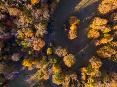 Aerial View of Farm Land in the Fall