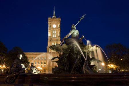 Neptun Fountain with the Red Town Hall (German: Rotes Rathaus)in the background. Stock Photo - 5454097