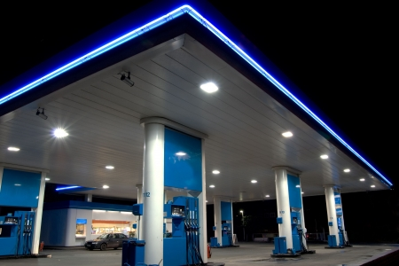 petrol pump: Blue filling station Stock Photo
