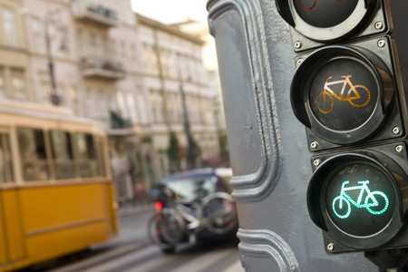 traffic control: Street scenery in Budapest Hungary  Stock Photo