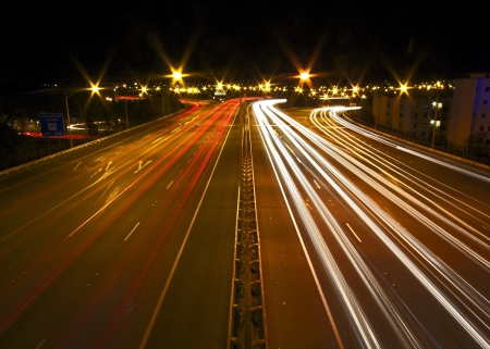 Freeway at Night Stock Photo