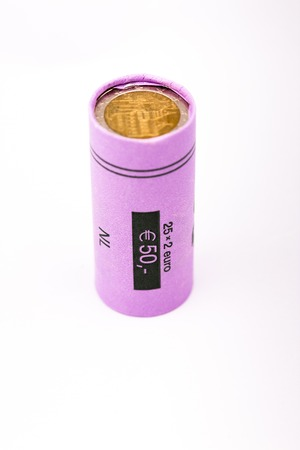 2 50: Roll of two euro coins