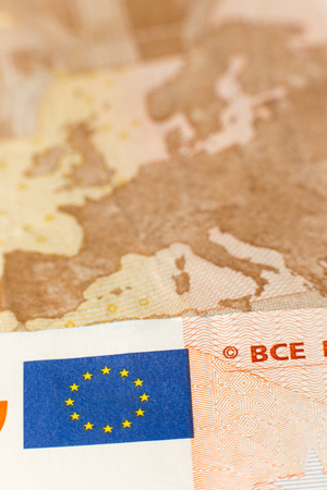 european map: Close up of a fifty euro bill showing the european map as a macro detail