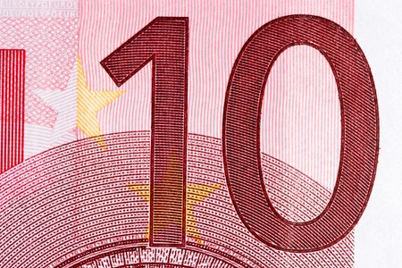 euro bill: Macro shot of a ten euro bill showing the number ten with its texture Stock Photo