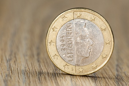 henri: Close up of a one euro coin from the European Union member Luxembourg showing the portrait of Grand Duke Henri of Luxembourg Stock Photo