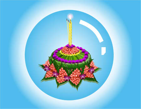 floating on water: Krathong in bubble