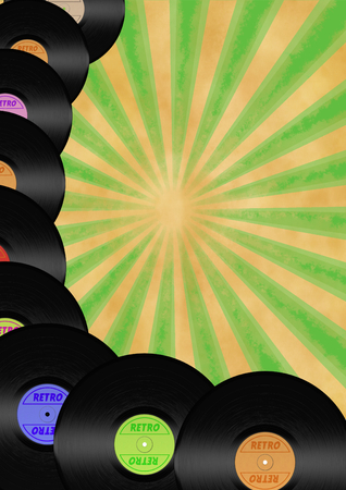 retro stylized flayer with colorful vinyls and vintage background