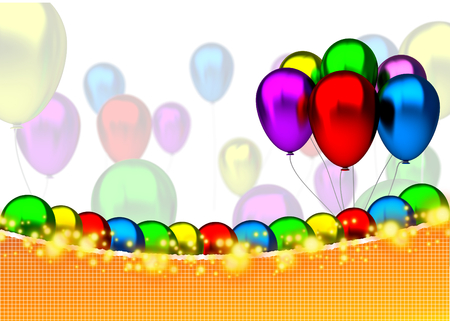 Birthday card with balloons, sparks and birthday text - 3D photo