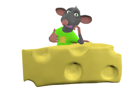 relies: mouse mouse relies on a cheese - white background - 3D render Stock Photo