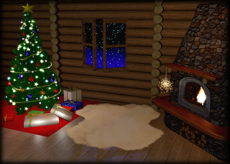 Christmas tree and christmas gift boxes in vintage interior with fireplace