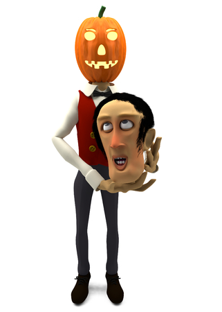 funny cartoon man with pumpkin for a head - 3D render photo