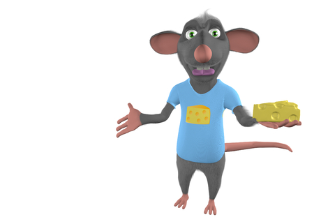 illustration of a cartoon mouse showing blank place - 3D render illustration