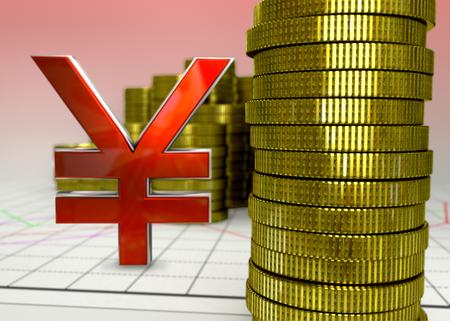 golden coins and red yen symbol - 3D render photo