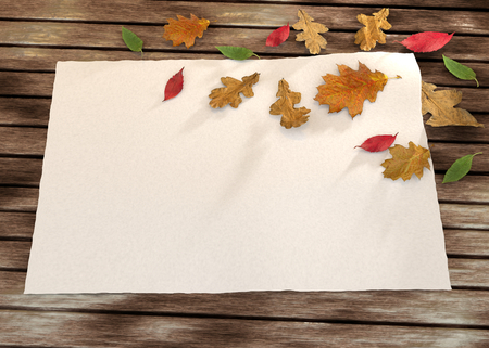 rende: autumn greeting card on the wooden background with leaves - 3D rende Stock Photo