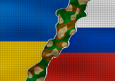 oncept: Ukraine and Russia Flag  - conflict oncept illudtration