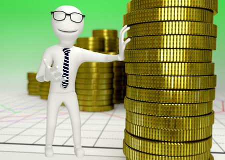 human character: bianco carattere umano con una pila di monete - rendering 3D