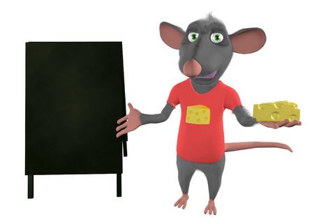 illustration of a cartoon mouse showing blank board - 3D render illustration