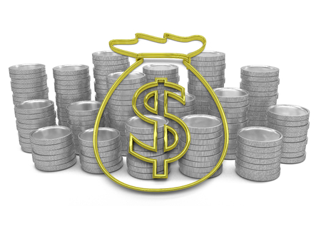 hoard: golden hoard of money icon with coins on background - 3D render - isolated on white