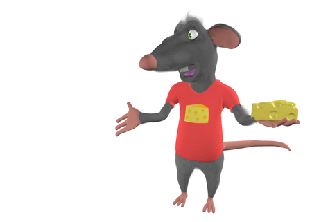 food clipart: illustration of a cartoon mouse showing blank place - 3D render