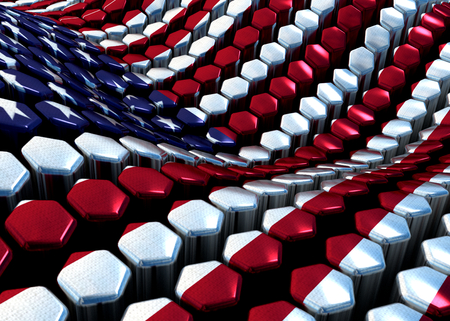 glossy abstract background from hexagons with USA theme - 3D photo