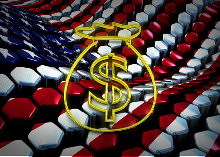 dolar: american dolar illustration with usa flag background theme